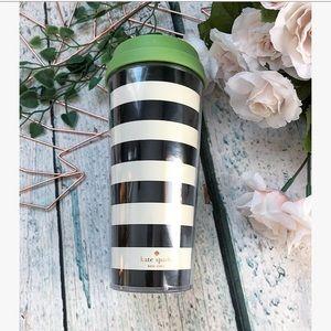 Kate spade tumbler travel mug black white stripes
